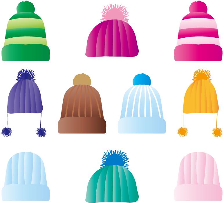 フリーイラスト 10種類のニット帽のセット