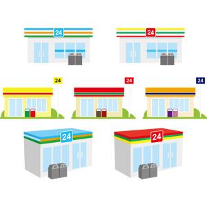 フリーイラスト, ベクター画像, AI, 建造物, 建築物, お店(店舗), コンビニ
