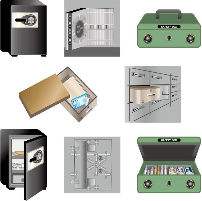 フリーイラスト 8種類の金庫と貸金庫と金庫室のセット