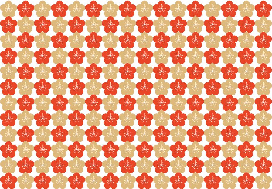 フリーイラスト 梅の花の和柄背景