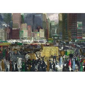 フリー絵画, ジョージ・ベローズ, 風景画, 建造物, 建築物, 高層ビル, 都市, 街並み(町並み), 人込み(人混み), アメリカの風景, ニューヨーク