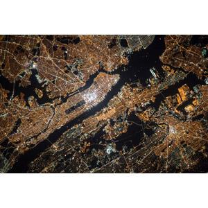 フリー写真, 風景, 都市, 衛星写真, 夜, アメリカの風景, ニューヨーク, 夜景