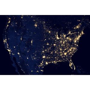 フリー写真, 風景, 衛星写真, アメリカの風景, 夜, アメリカの地形, 夜景