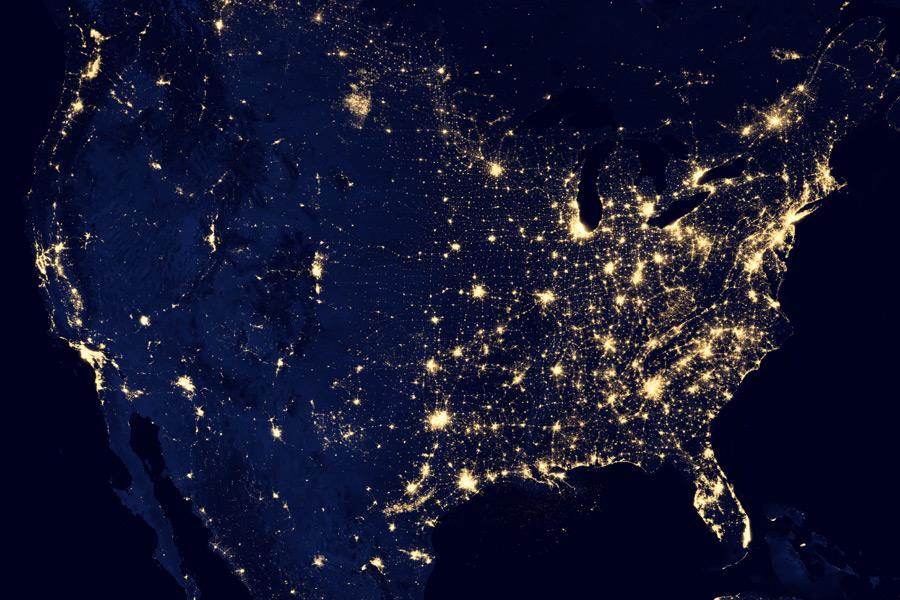 フリー写真 宇宙から見る夜のアメリカ