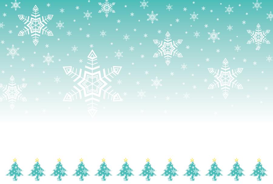フリーイラスト 雪とクリスマスツリーの背景