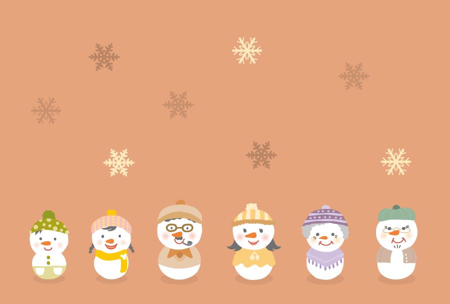 フリーイラスト 雪だるまの家族