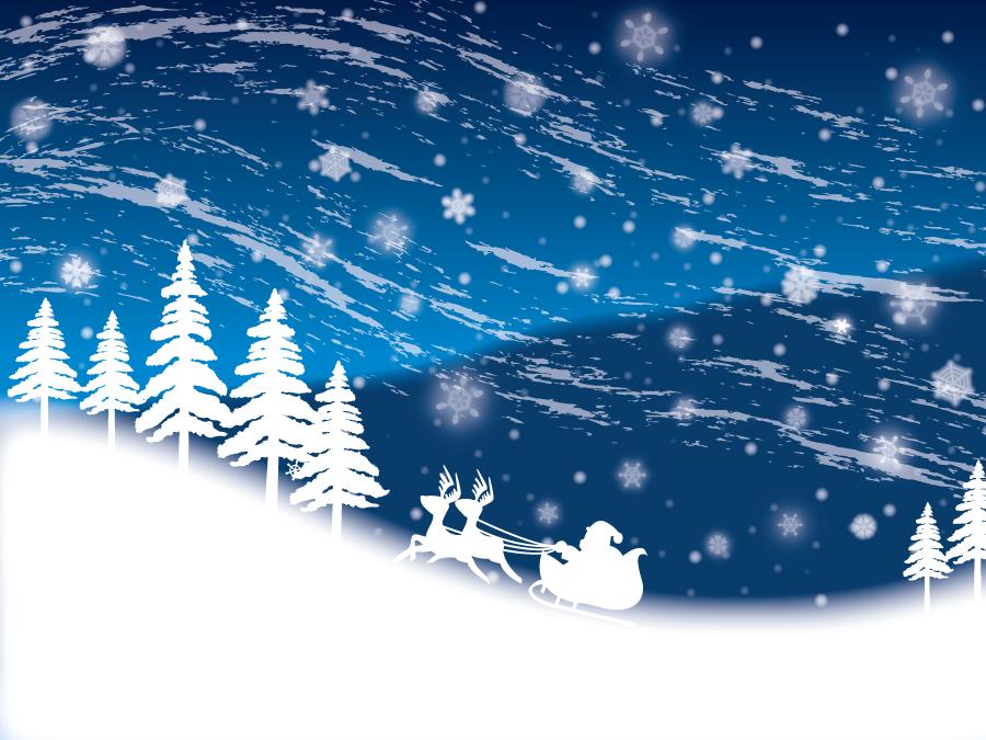 フリーイラスト 吹雪の中を駆けるトナカイとサンタクロース