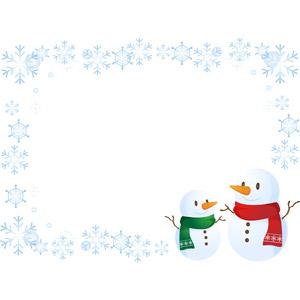 フリーイラスト, ベクター画像, AI, 背景, フレーム, 囲みフレーム, 雪だるま, 雪の結晶, 冬
