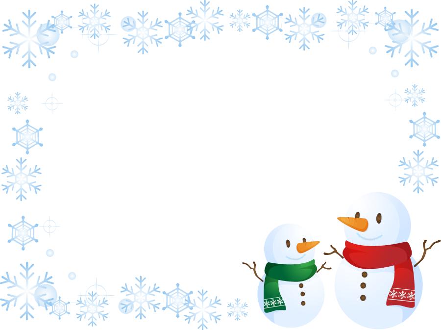 フリーイラスト 雪だるまと雪の結晶の飾り枠