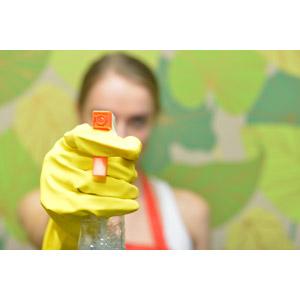 フリー写真, 人物, 女性, 外国人女性, 女性(00092), 掃除(清掃), 掃除用洗剤, スプレーボトル, 年末大掃除