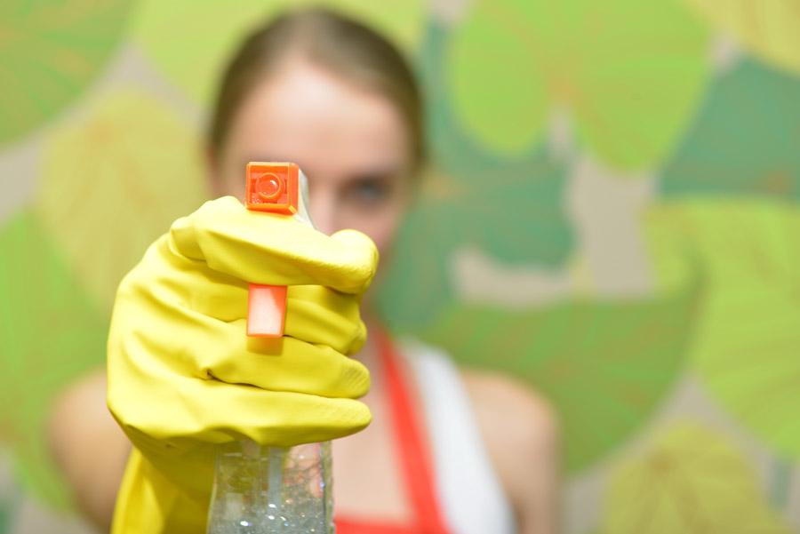 フリー写真 洗剤のスプレーを向ける外国人女性
