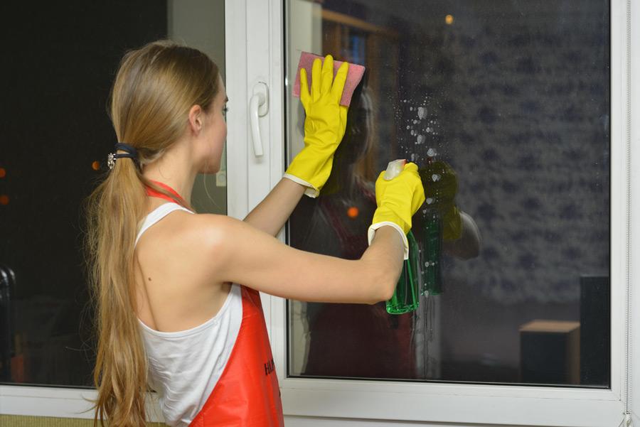 フリー写真 窓に洗剤を吹きかける掃除中の女性
