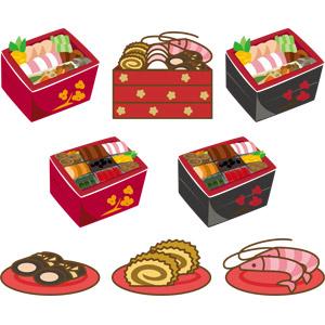 フリーイラスト, ベクター画像, AI, 食べ物(食料), 料理, 年中行事, 正月, 元旦(元日), 1月, 和食, 日本料理, おせち料理, 伊達巻