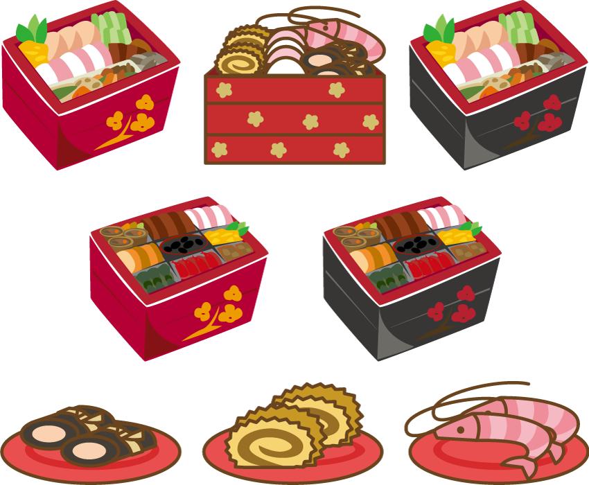 フリーイラスト 7種類のお節料理の