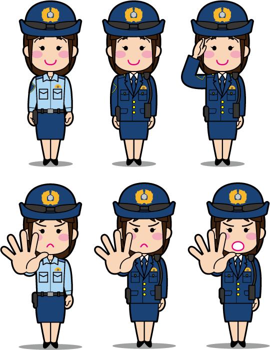 フリーイラスト 6種類の若い婦人警察官のセット