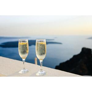 フリー写真, 風景, 海, エーゲ海, 飲み物(飲料), お酒, シャンパン, シャンパングラス