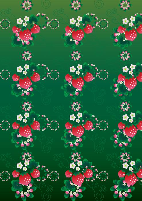 フリーイラスト いちごのパターン背景