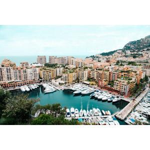 フリー写真, 風景, 建造物, 建築物, 高層ビル, 都市, 街並み(町並み), ヨットハーバー(マリーナ), 船, クルーザー, モナコの風景