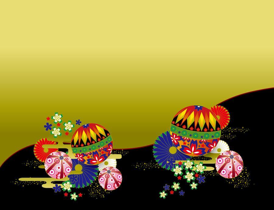 フリーイラスト 手鞠と菊と桜の和風背景