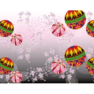 フリーイラスト, ベクター画像, AI, 背景, 和柄, 鞠(毬), 花, 桜(サクラ), 春