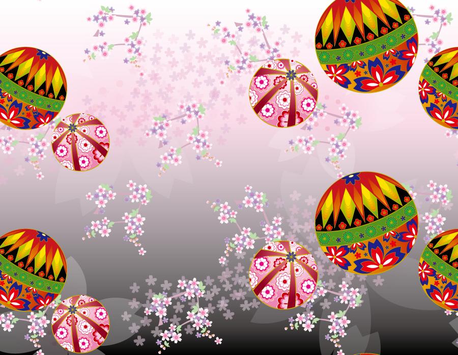 フリーイラスト 手鞠と桜の花の和柄背景