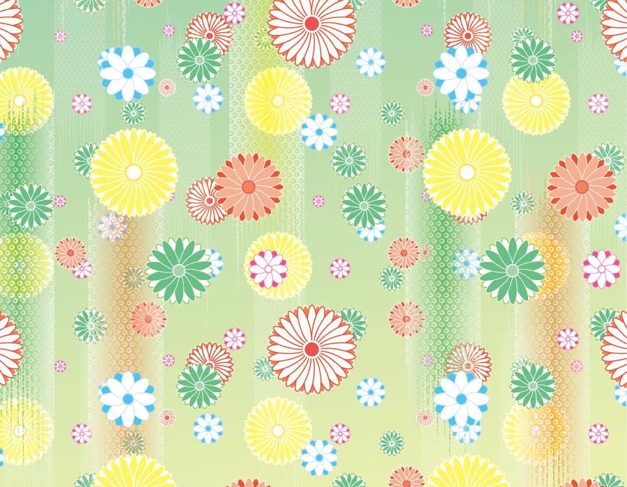 フリーイラスト 菊の花柄の和風背景
