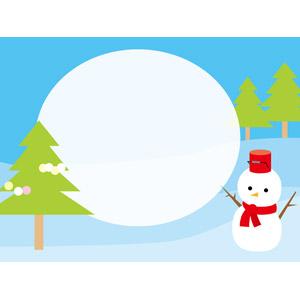 フリーイラスト, ベクター画像, AI, 背景, メッセージフレーム, 雪, 雪だるま, 冬