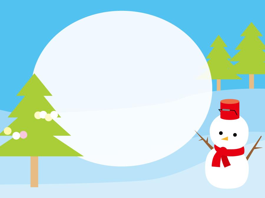 フリーイラスト 雪だるまとメッセージフレーム