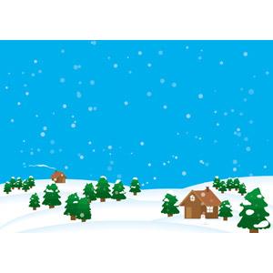 フリーイラスト, ベクター画像, AI, 風景, 雪, 冬, 樹木, 家(一軒家), 田舎