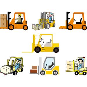 フリーイラスト, ベクター画像, AI, 建設機械(重機), フォークリフト, 働く車