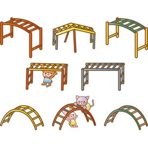 フリーイラスト, ベクター画像, AI, 雲梯(うんてい), 遊具, 猫(ネコ), 熊(クマ), 兎(ウサギ)