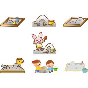 フリーイラスト, ベクター画像, AI, 砂場, 遊具, 砂, 砂遊び, 子供の遊び