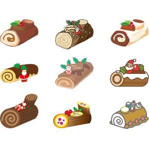 フリーイラスト, ベクター画像, AI, 年中行事, クリスマス, 12月, 食べ物(食料), 菓子, 洋菓子, スイーツ, ケーキ, クリスマスケーキ, ビュッシュ・ド・ノエル, ロールケーキ