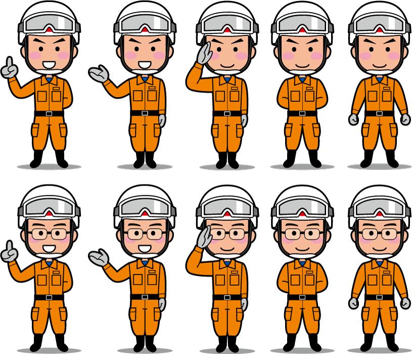 フリーイラスト 10種類のレスキュー隊員のセット