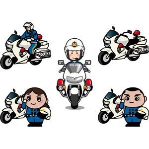 フリーイラスト, ベクター画像, AI, 警察, 警察官(お巡りさん), 婦人警官(婦警), 人物, 男性, 女性, 職業, 仕事, 敬礼, 乗り物, バイク(オートバイ), 白バイ, 交通機動隊