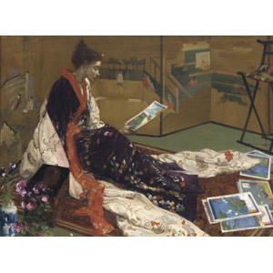 フリー絵画, ジェームズ・マクニール・ホイッスラー, 人物画, 女性, 着物, 和服, 浮世絵, 屏風