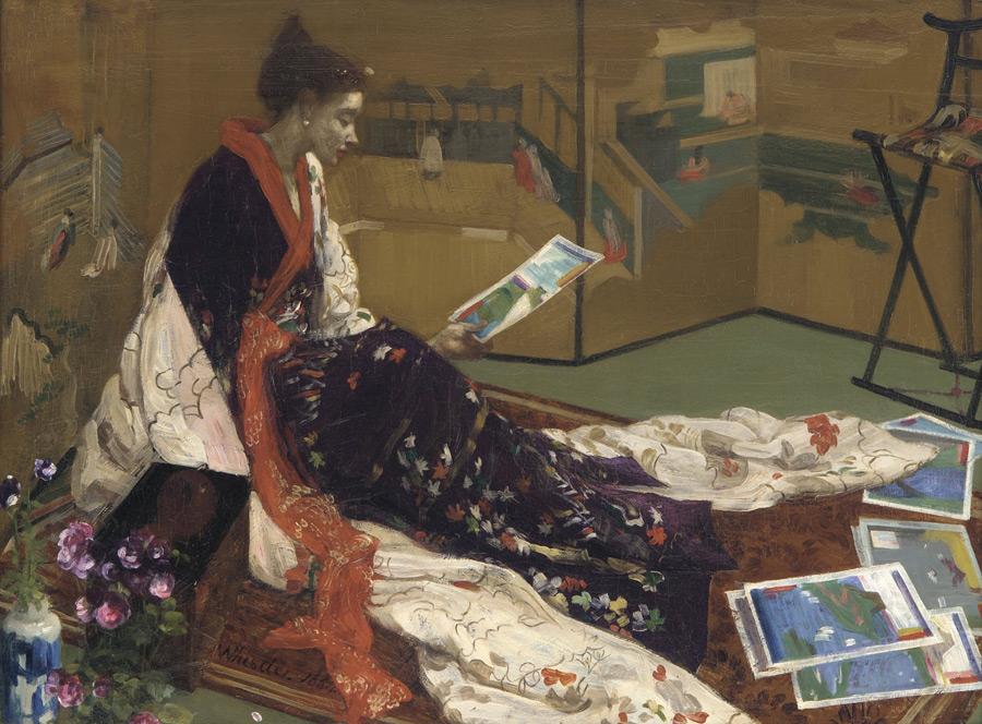 フリー絵画 ジェームズ・マクニール・ホイッスラー作「紫と金のカプリス 金屏風」