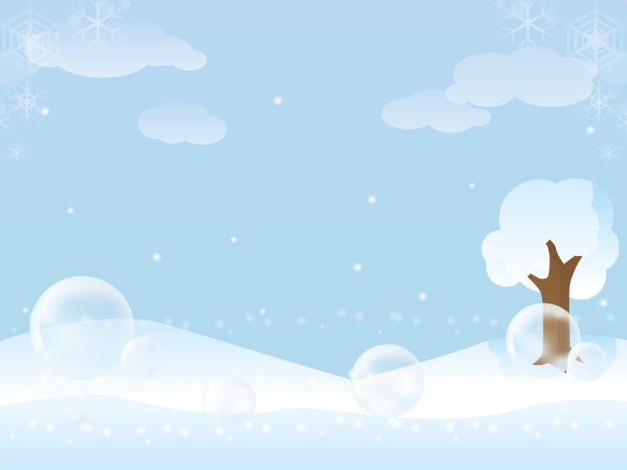 フリーイラスト しゃぼん玉と雪原の風景