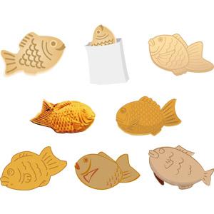 フリーイラスト, ベクター画像, AI, 食べ物(食料), 菓子, 和菓子, たい焼き(たいやき)