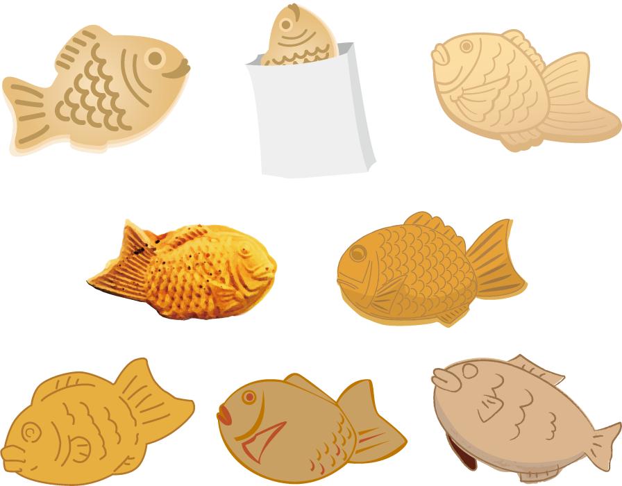 フリーイラスト 8種類のたい焼きのセット