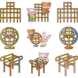 フリーイラスト, ベクター画像, AI, 遊具, ジャングルジム, 熊(クマ), 猫(ネコ), 兎(ウサギ)