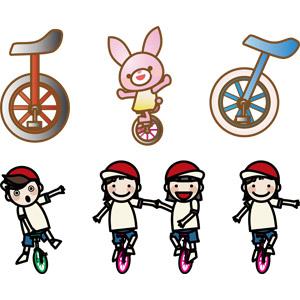 フリーイラスト, ベクター画像, AI, 乗り物, 一輪車, 遊具, 兎(ウサギ), 人物, 子供, 男の子, 女の子, 手をつなぐ, 紅白帽(赤白帽)