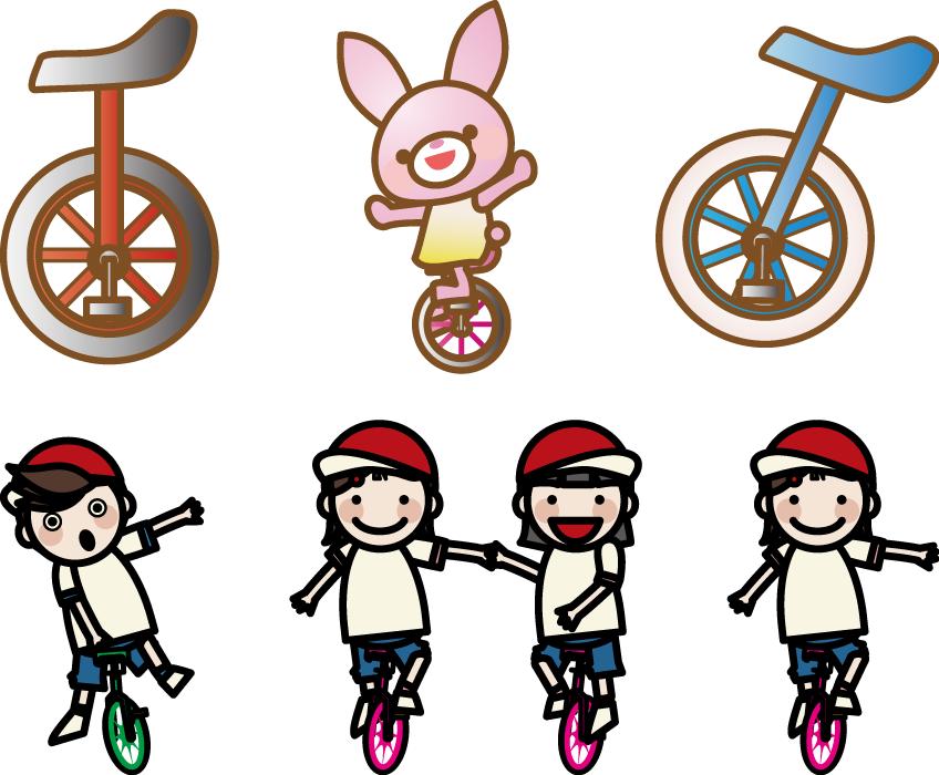 フリーイラスト 6種類の一輪車のセット