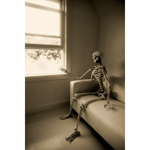 フリー写真, 人体, 骸骨, 座る(ソファー), 待つ, セピア色, 覗く, 窓辺