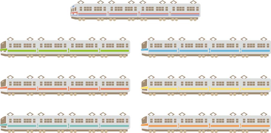 フリーイラスト 7種類の電車のセット