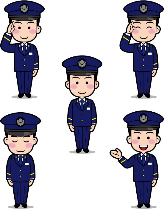 フリーイラスト 敬礼するなどの5種類の駅員さんのセット