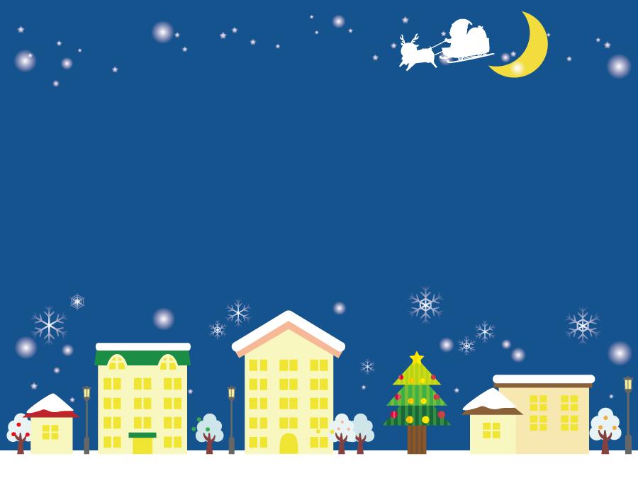 フリーイラスト クリスマスの街並みと夜空を駆けるサンタとトナカイ