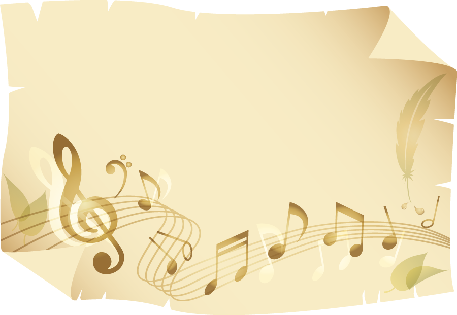 フリーイラスト 羊皮紙と楽譜の飾り枠