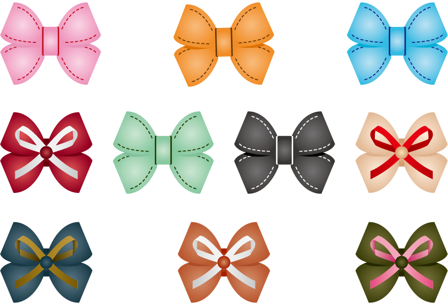 フリーイラスト 10種類のダブルの蝶リボンのセット