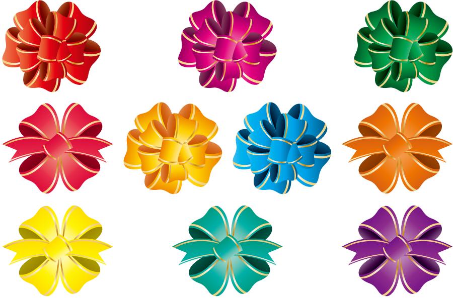 フリーイラスト 10種類の花リボンのセット